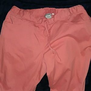 Coral colored scrub pants